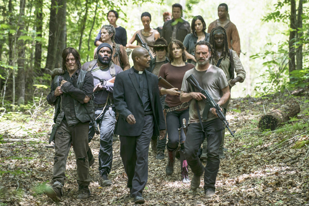 TV STILL -- Norman Reedus as Daryl Dixon, Seth Gilliam as Father Gabriel, Andrew Lincoln as Rick Grimes, Chad Coleman as Tyreese, Lauren Cohan as Maggie Greene, Chandler Riggs as Carl Grimes, Danai Gurira as Michonne, Alanna Masterson as Tara Chambler, Melissa McBride as Carol Peletier, Sonequa Martin-Green as Sasha, Steven Yeun as Glenn Rhee,  Michael Cudlitz as Abraham, Josh McDermitt as Dr. Eugene Porter and Lawrence Gilliard Jr. as Bob Stookey - The Walking Dead _ Season 5, Episode 2 - Photo Credit: Photo Credit: Gene Page/AMC